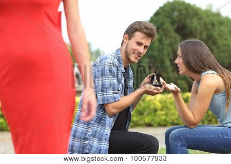 Unfaithful Man Looking Another Girl During Proposal