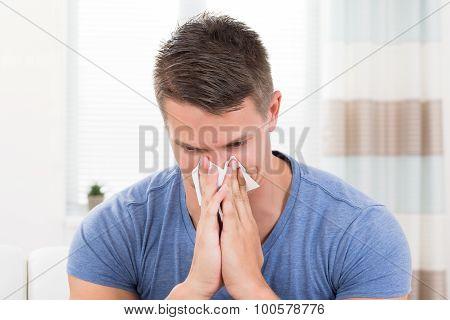 Man Sneezing In Tissue Paper