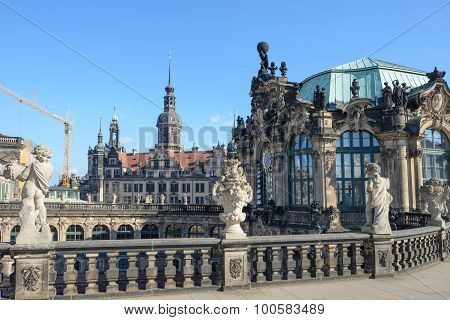 Upper Part Of Carillon Pavilion In Zwinger, Dresden, Saxony, Germany.