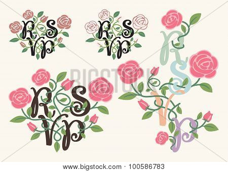 RSVP typography and flower element