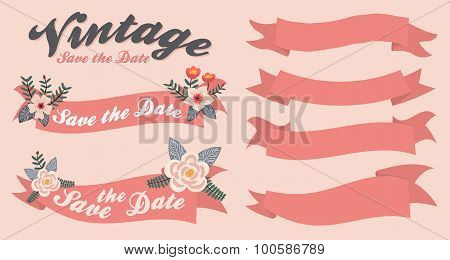 Vintage ribbon banner set