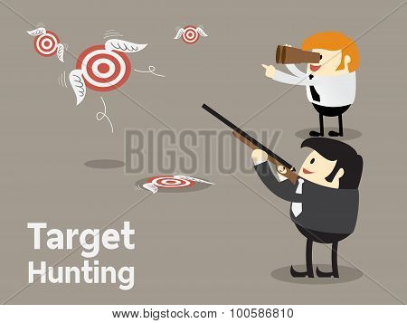 Goal setting, Shooting flying target, Target hunting for business concept, Focus concept Vector illustration poster
