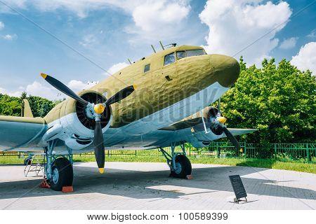 Lisunov Li-2 of Soviet Air Force standing near building Beloruss