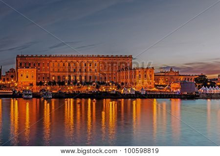 Stockholm - August 11, 2015:the Royal Palace, Residence Of The Swedish Monarch, Erected In 1754 Afte
