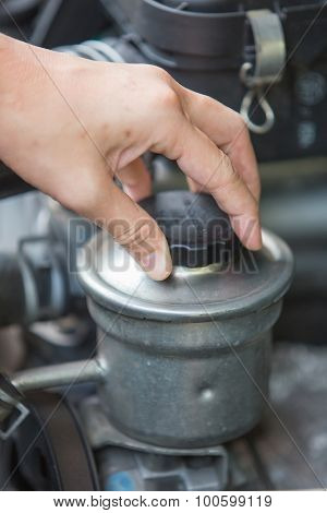 Checking For Power Steering Oil, Machine Related