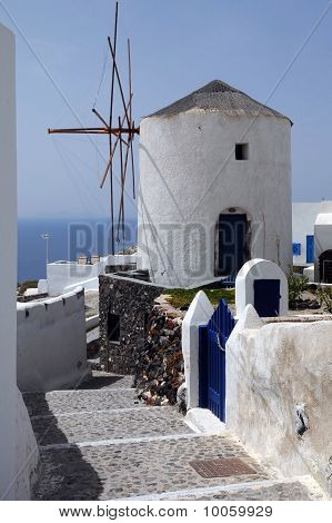 Windmill In The Village Of Oia