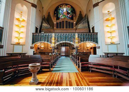 Interior Of Sofia Kyrka - Sofia Church In Stockholm, Sweden