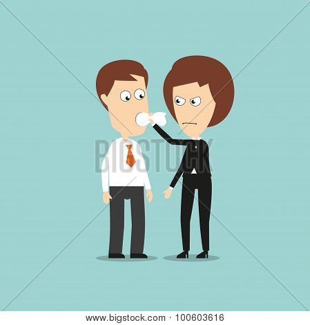 Angry business woman put a cloth gag in mouth to stop him from speaking, for business secret or shut up concept design. Cartoon flat style poster