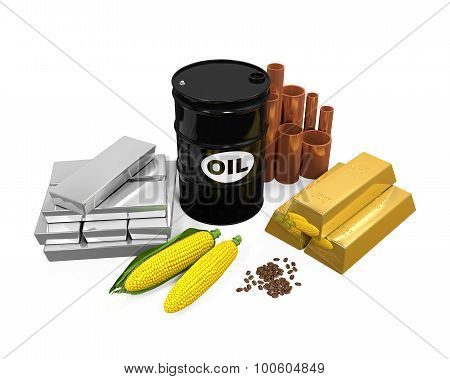 Commodities - Oil, Gold, Silver, Copper, Corn and Coffee Beans isolated on white background. 3D render poster