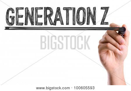 Hand with marker writing the word Generation Z