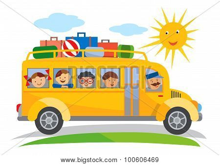 School Trip Bus Cartoon