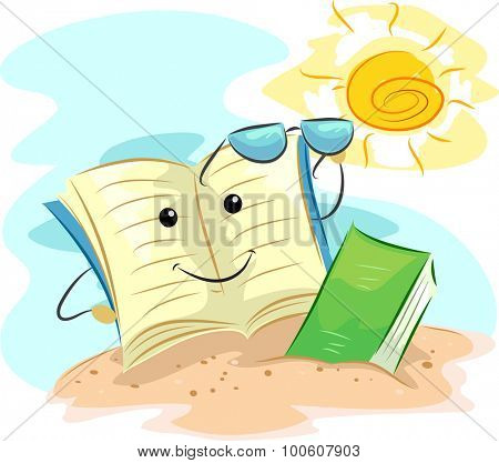 Mascot Illustration of a Book Reading by the Beach