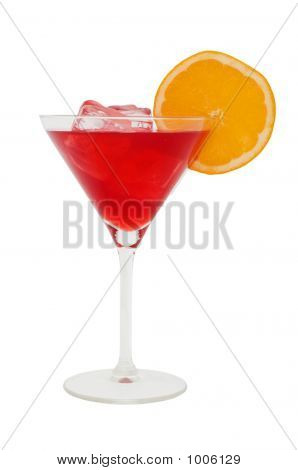 Red Cocktail With A Slice Of Orange And Icecubes