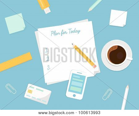 Piece of Paper with Plan Your Day Sign, Morning Coffee Cup and Stationery Objects. Managing Your Day