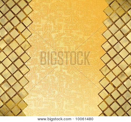 Golden mosaic wall with chinese letters in open area poster