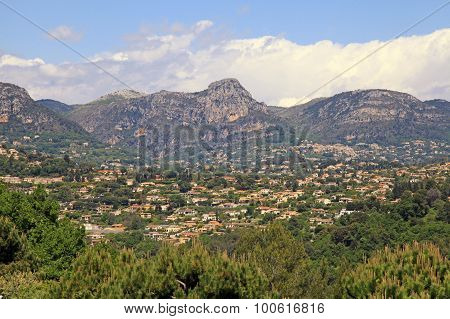 Beautiful Landscape With Mountains And Village Saint-paul-de-vence, Provence, South France.