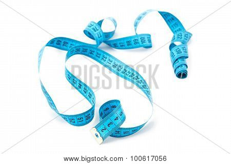 Photo blue untwisted measuring tape, cm