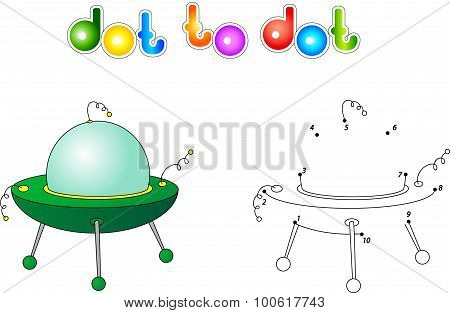 Ufo Or Flying Saucer. Connect Dots And Get Image.