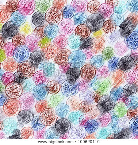 A Colorful Pencils Background Illustration Of Kuwaiti Coins