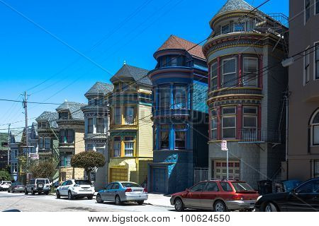 Haight Ashbury Painted Houses in San Francisco