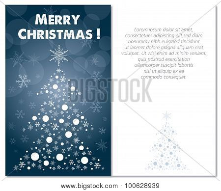 merry christmas greeting card front and interior or back illustration