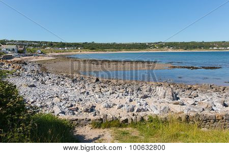 Port Eynon Bay The Gower Peninsula Wales uk popular tourist destination and near Oxwich and Three Cliffs Bay on a summer day with clear blue sky poster