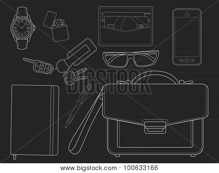 Businessman Items. Chalk