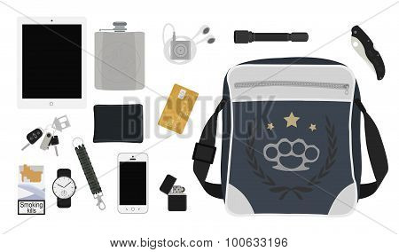 Every day carry man items collection. Tablet computer flask mp3 player flashlight pocket knife bag lighter mobile phone bracelet watch cigarettes keys usb wallet credit card. No outline poster