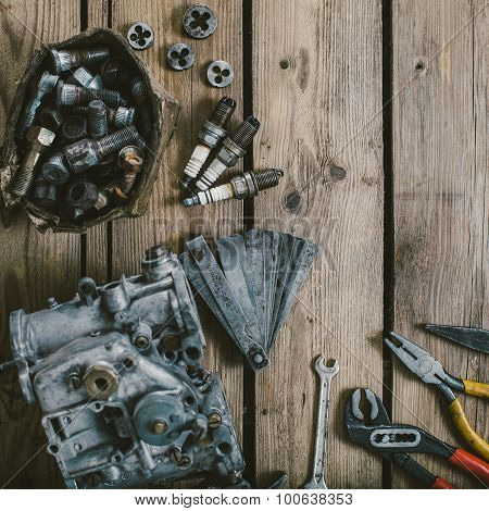 Tools on wooden table
