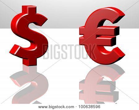 Euro And Dollar Sign, World Trade Concept