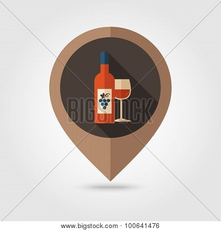 Wine Flat Mapping Pin Icon