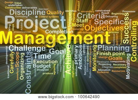 Background concept wordcloud illustration of project management glowing light