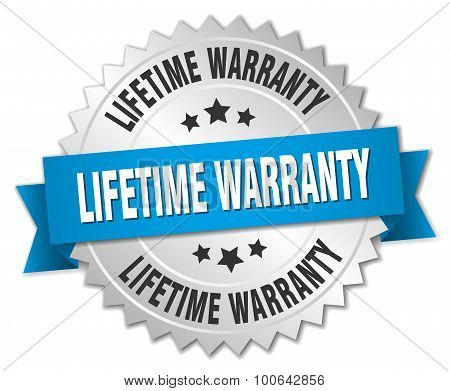 Lifetime Warranty 3D Silver Badge With Blue Ribbon