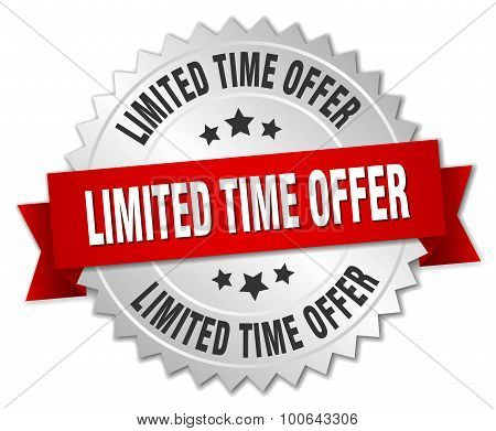Limited Time Offer 3D Silver Badge With Red Ribbon