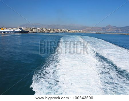 Trail On Water Surface Behind Of Fast Moving Ferryboat