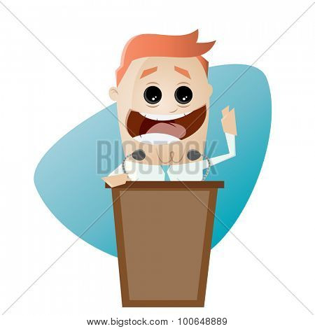 funny businessman and lectern