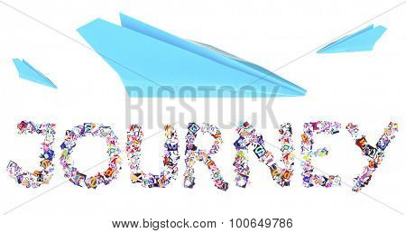 Journey concept. Origami paper airplane isolated on white
