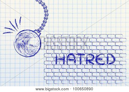 Wrecking Ball About To Destroy A Wall With The Text Hatred