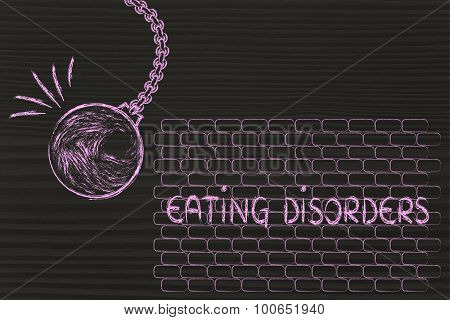 overcoming your problems metaphor with wrecking ball destroying Eating Disorders poster