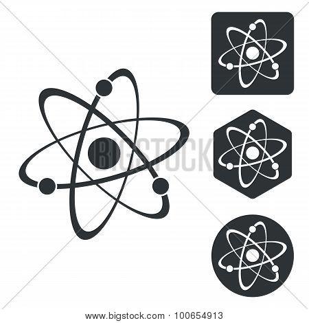 Atom icon set, monochrome