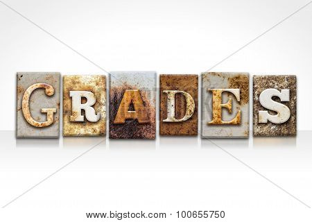 Grades Letterpress Concept Isolated On White
