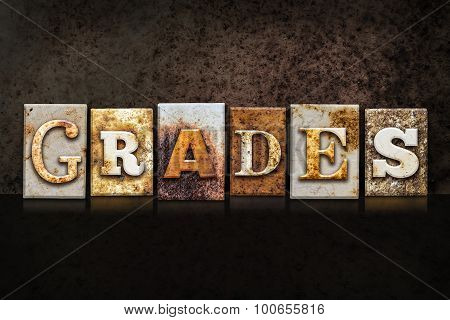 Grades Letterpress Concept On Dark Background