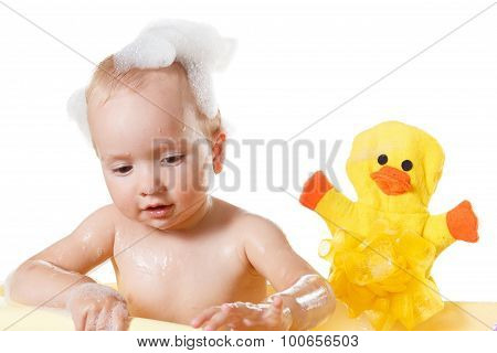 Cute 1 Year-old Boy Bathes With Duckling In A Shower