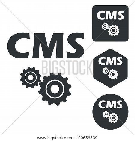 CMS settings icon set, monochrome