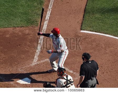 Phillies Ryan Howard Holds Bat In The Air In The Batters Box During His Pre-pitch Ritual