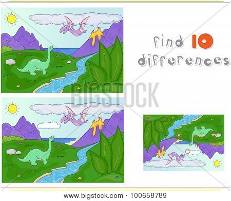 Dinosaurs Diplodocus And Pterodactyl On A Background Of  Prehistoric Nature: Mountains, Sea And Fern