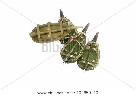 Four Fishing Feeder Isolated On A White Background