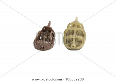Two Fishing Feeder Isolated On A White Background