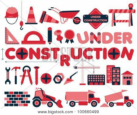 Under construction vector icons set