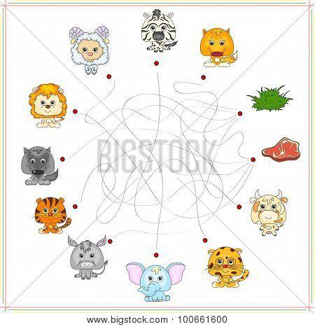 Fox, Wolf, Sheep, Lamb, Lion, Zebra, Donkey, Tiger, Elephant, Cow And Jaguar With Their Food. Carniv
